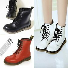 Lace Up Mid Calf Round Shoes Low Heel Combat Punk Ankle Boots Women Martin Boots