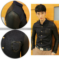 Men's Awesome Dress Shirt Faux PU Leather Patch Design Long Sleeve Casual Shirt