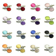 Fashion Vintage New French Solid Color Grid Round Wedding Gift Men's Cuff Links