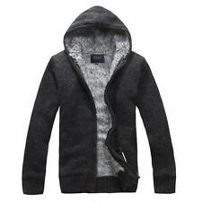 Winter Mens Cardigan Sweater Fur Wool Lining Hoodie Knitted Jacket Hooded Coat
