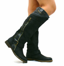Womens Ladies Flat Boots Low Heel Knee High Buckle Zip Slouch Military Riding A5