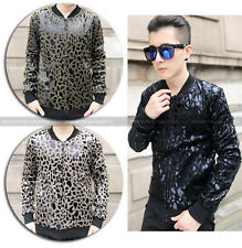 Men's Awesome Bling Bespangle Leopard Moto Biker Slim Fit Club Pub Coat Jacket