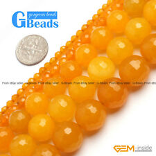 "Yellow Jade Gemstone Faceted Round Beads Free Shipping 15"" 4mm 6mm 8mm 12mm 14mm"