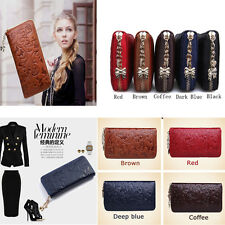 Hot Womens Genuine Leather Wallet Clutch Card Cash Coin Zipper Organizer Purse