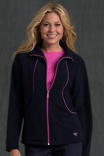 NEW WOMEN MED COUTURE DESIGNER NURSING UNIFORM FLEECE JACKET VARIOUS COLORS