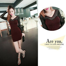 blouse winter women clothing Dress Sexy See-through Mesh Patchwork Bodycon cheap