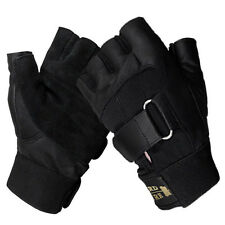 LEATHER FINGERLESS GLOVES DRIVING MILITARY POLICE WEIGHT BIKERS & WHEELCHAIR USE