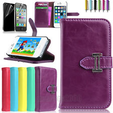 Flip Wallet Genuine Leather Case Cover For Apple iPhone 4 4S w/ Screen Protector