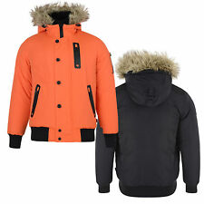 Mens Coat Bellfield New Faux Fur Lined Hooded Parka Winter Warm Casual Jacket
