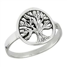 TREE OF LIFE Sterling Silver Circular Fashion Ring Size 4-9