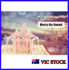 Christmas Birthday Valentine Greeting Card 3D Carrousel Marry-go-round Pop Up