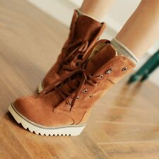 Fashion Women Lace-up round toes Ankle Comfort flats Winter Warm Boots Plus Size