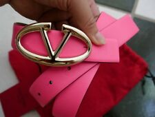 NWT 100% AUTH VALENTINO V LOGO BUCKLE PINK LEATHER BELT $295