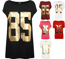 New Plus Size Womens 85 Gold Foil Print T-Shirt Ladies Short Sleeve Top 16 - 26