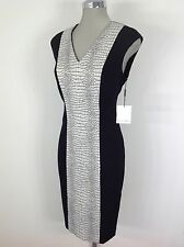 Calvin Klein NWT Elegant Black with Cream color block Dress, slimming and Modern