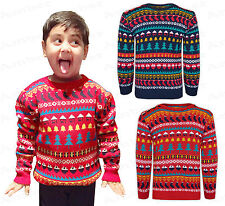 Childrens Boy Girls Christmas Xmas Retro Novelty Fairisle Kids Snowman Jumper
