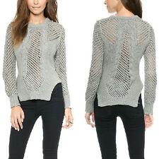 Fshion Symmetric Women Casual Grid Mesh Hollow Out Rib Pullover Knitted Sweater