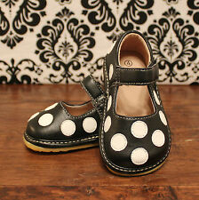 Black w/ White Polka Dots Toddler Girl Squeaky Shoes, Sizes 3, 4, 5, 6, 7, 8, 9