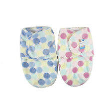Supersoft Fleece Baby Swaddle Wrap 0-3 Months Small Pink / Blue Dots