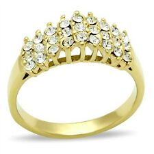 New Gold IP Ladies 27 Crystal Cluster Fashion Cocktail Ring Sizes 5 - 10