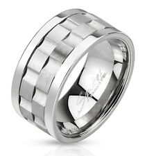 Mens Wide New Stainless Steel Gear Shape Twin Spin Band Ring Sizes 9 - 13