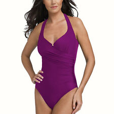 One Piece Halter Beach Swimsuit Swimwear Bather with Optional Skirt Orchid