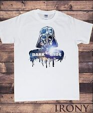 Mens White Cotton T-Shirt With Star Wars Empire Strike Back Darth Vader Movie