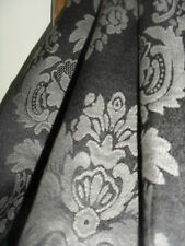 HUGE JACQUARD CURTAINS, CLASSIC DAMASK, BLACK & GREY, PENCIL PLEAT or RINGTOP