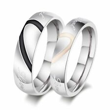 Couple Love Heart Stainless Steel Comfort Fit Wedding Bands Promise Ring All Sz