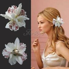 10Pcs Fashion Wedding Bridal Flower Orchid Leopard Hair Clip Brooch Pin Barrette