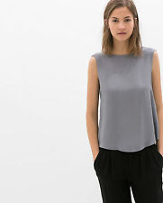 ZARA GREY TOP WITH STRAPS AT THE BACK SIZE XS / S / M SOLD OUT IN STORES