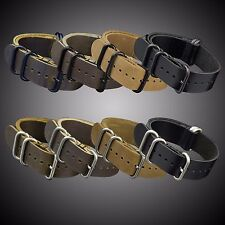 22MM INFANTRY 5Rings Military Army Genuine Leather Wrist Watch Band Strap Belt