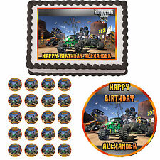 MONSTER JAM TRUCK Edible Birthday Party Cake Topper Cupcake Image Decorations