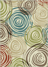 Ivory Contemporary Circles Area Rug  Modern Geometric Swirls Multi-Color Carpet