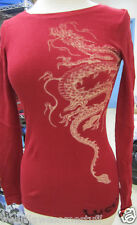 LUCKY BRAND Thermal L/S SHIRT Top in RED Dragon SIZE Small NEW w/TAG