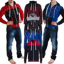 Mens Casual Jackets Zip Up Quilted Hooded Hoody Sweatshirt Size S M L XL XXL