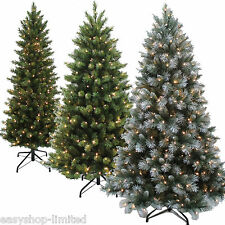 Luxury 6Ft or 7Ft Pre-Lit Christmas Tree Over 600 Tips Pine With Metal Stand