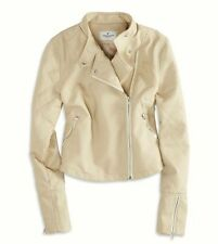 NWT $99.00 AMERICAN EAGLE OUTFITTERS Women's Vegan Leather Moto Jacket Beige