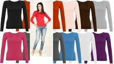 New Womens Long Sleeve Round Neck Plain Basic Ladies Stretch T-Shirt Top 6-14*RN