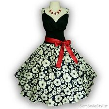 Gorgeous Black & White Floral 50s PIN UP ROCKABILLY SWING DRESS Full Swing SML