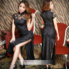 Sexy Lingerie Lace Granny Chic Chinese Cheongsam Skirt long length dress QiPao