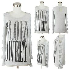 Sexy Cutout Sleeve Knit Top Sweater Long Sleeve Shirt Cold Shoulder Casual Print