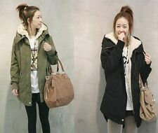 Hot Women Zip Hooded Parka Thick Fleece Warm Winter Coat Overcoat Long Jacket