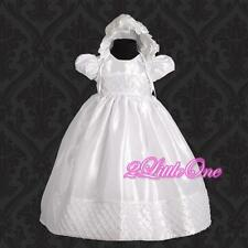 Baby Girl Formal Christening Baptism Dress Gown & Bonnet size 0m-12m FG027