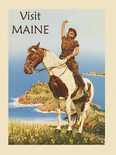 Maine Pinto Horse Lady Lighthouse Tourism Vintage Poster Repro FREE SH