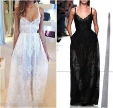 Victorian VTG Sexy Plunge Vneck High Waist Lace Embroider Prom Maxi Long Dress C