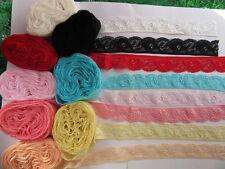 5/20/50/100 yards stretch lace ribbon free shipping. (flower)