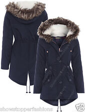 NEW Womens Faux Fur Hood PARKA Ladies JACKET COAT FISHTAIL Size 8 10 12 14 16