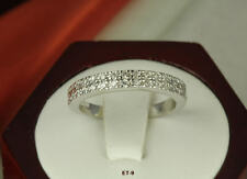 STERLING SILVER STACKED 2 ROW CZ PAVE ENGAGEMENT RING CZ ETERNITY BAND RING ❤E9❤