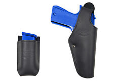 New Barsony Black Leather OWB Holster + Mag Pouch Smith&Wesson Full Size 9mm 40